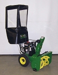 Snow Blower Cab For Snapper Mid-Frame 2-stage with light bar (black vinyl) and John Deere 2010-2013 2-stage with duel headlights as shown.