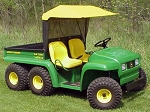 Original Tractor Cab Vinyl Sunshade With Rear Sun Screen Fits 4X2 & 6X4 John Deere Gators with steel cargo box/bed..